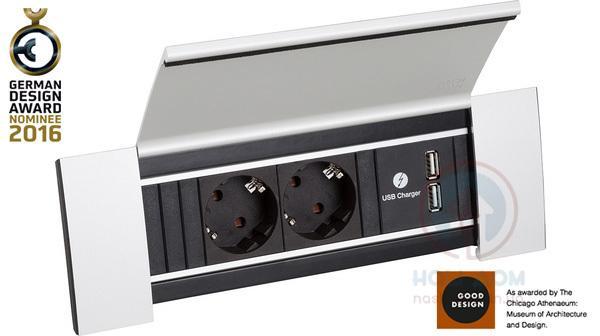 Врезной блок розеток Bachmann Power Frame Cover 2x220+2xUSB-зарядное. Защитная крышка