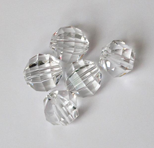 Фото Бусины ,полубусины ,стразы,.цветок, Бусины  разные Круглые  гранёные,  стекло - кристал ,  Белые  бусины  12 мм.