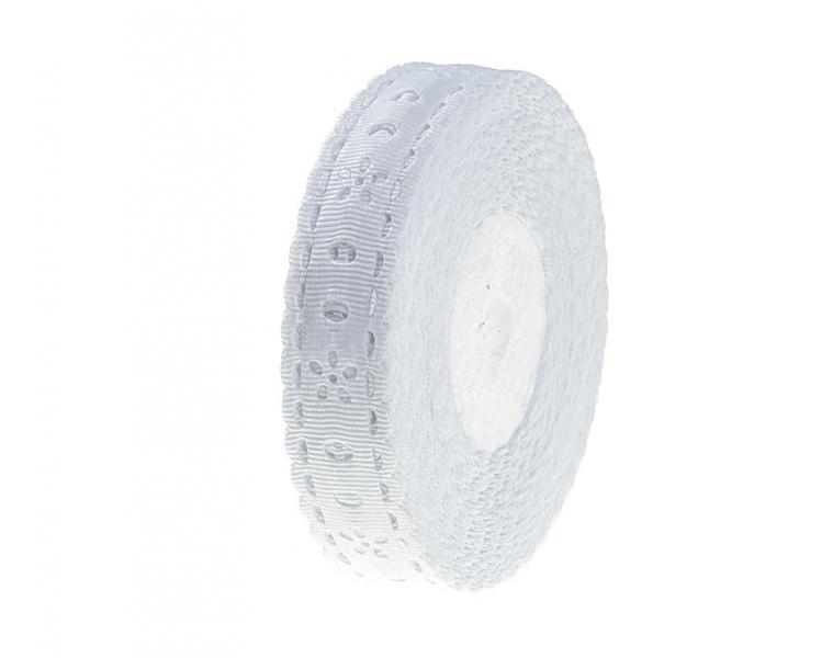 Фото Ленты,  Декоративные  тканевые  ленты . Перфорированая  репсовая  лента  Белого  цвета.  ширина  2 см.  (  Остаток  1  упаковка  1  метр )