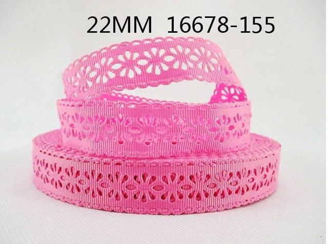 Фото Ленты,  Декоративные  тканевые  ленты . Репсовая  лента - кружево  22 мм.    Розового   цвета