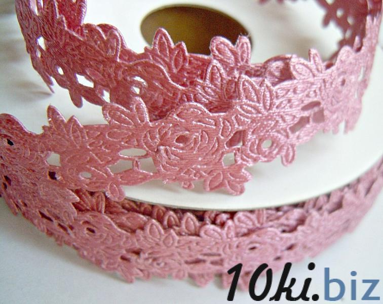 Тесьма декоративная ,атласная в розочках ,  ширина 20 мм . цвет пепельно - розовый  купить в Нежине - Текстильные аксессуары