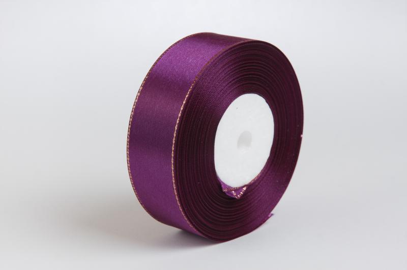 Фото Ленты, Лента атласная однотонная 2,5 см Лента  атласная  2,5 см.  тёмно  Фиолетового  цвета  с  золотым  люрексом