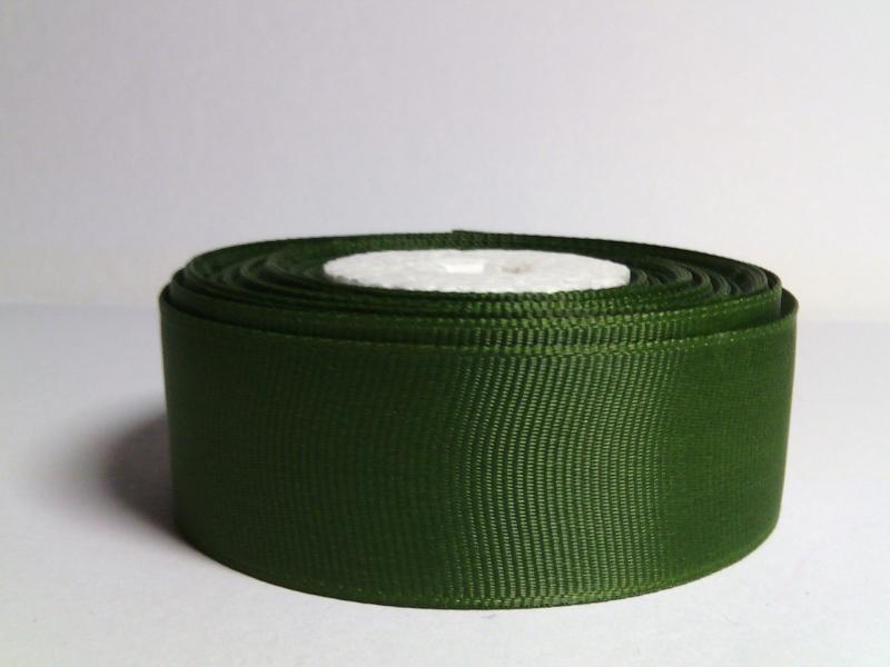Репсовая лента  2.5 см.  цвет травяной - тёмный