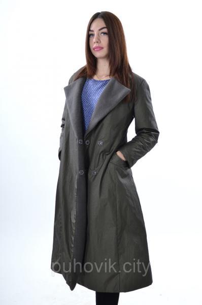 Стильное пальто Max Mara 1783, плащевка и кашемир оливковый, M