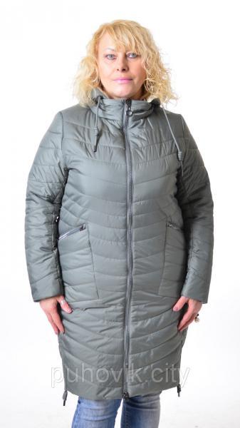 Удлиненная куртка Mishele 576 - Большие размеры светлая оливка, 54