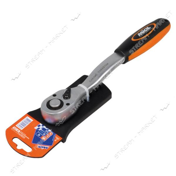 "Miol 58-200 Ключ трещоточный с реверсом (72 зубца), двухкомп. рукоятка 1/4"""""