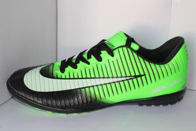 Футбольные кроссовки(копы) Nike Mercurial сороконожки на шнуровке для игры в футбол на шнурке зеленые