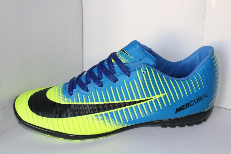 Футбольные кроссовки(копы) Nike Mercurial сороконожки на шнуровке для игры в футбол на шнурке Желто-синий, 39-45