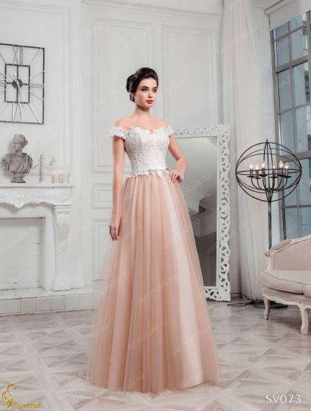 Легкое непышное цветное свадебное платье Гледис