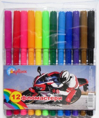 """Фломастери """"Барвінок"""" 5-102/2 (12 кольорів) """"Мотоцикл"""""""