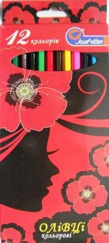 Карандаши цветные 12 цветов 7303NС-12 (Маки)