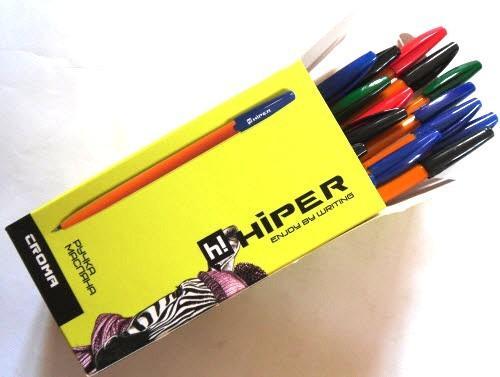 Ручка масляная HIPER HO-525 (50 шт., набор из 4-х цветов)