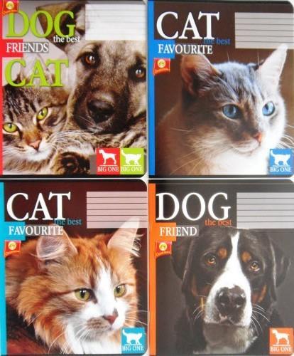 """Зошит шкільний 18 аркушів, клітинка - ТОВ """"Тетрада"""" (Cat & Dog)"""