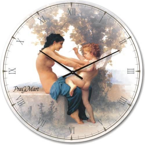 Часы настенные из стекла - Девушка с амуром (немецкий механизм)