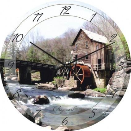 Часы настенные из стекла - Мельница(немецкий механизм)