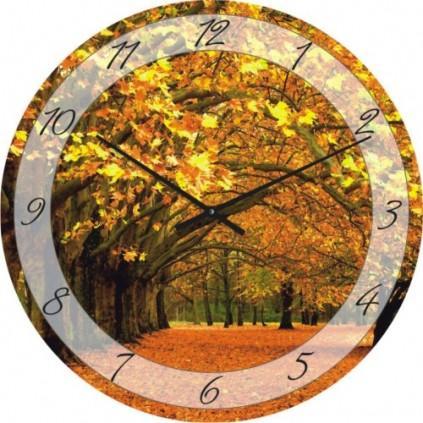 Часы настенные из стекла - осенний парк(немецкий механизм)до45- 50см