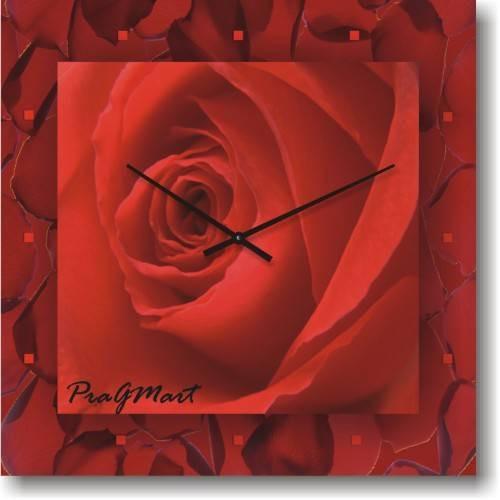 Часы настенные из стекла - Алая роза (немецкий механизм)до45- 50см