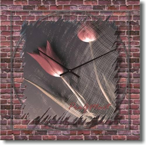 Часы настенные из стекла - любовь сквозь стену (немецкий механизм)50см