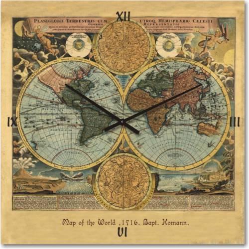 Часы настенные карта мира 1716 года ( немецкий механизм)