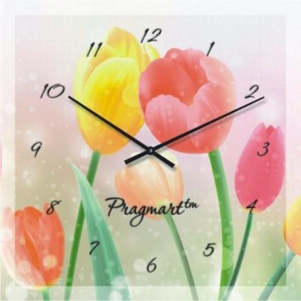 Часы настенные из стекла - весна(немецкий механизм)