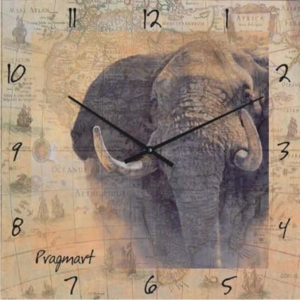 Часы настенные из стекла - Слон(немецкий механизм)до45- 50см
