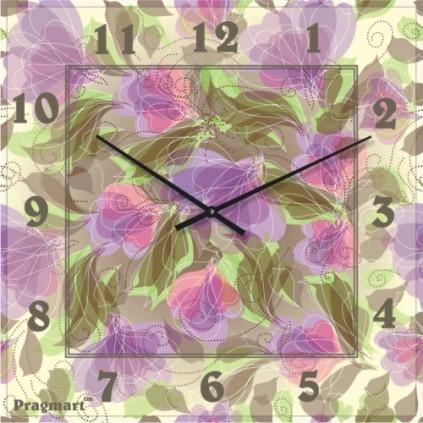 Часы настенные из стекла - Букет(немецкий механизм)