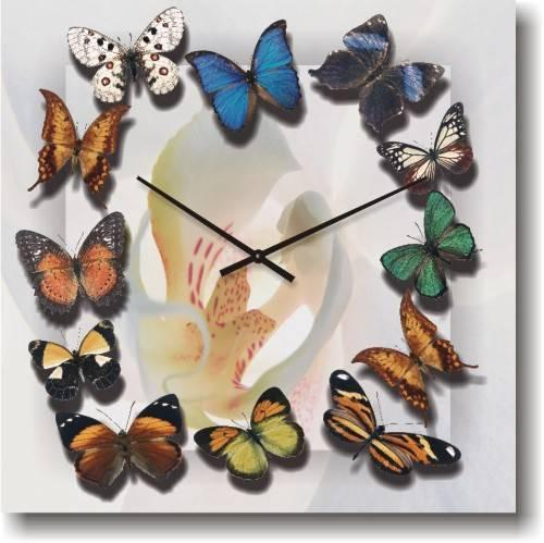 Часы настенные из стекла - Бабочки(немецкий механизм)