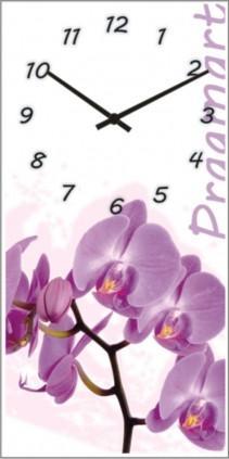 Часы настенные из стекла - архидея(немецкий механизм)