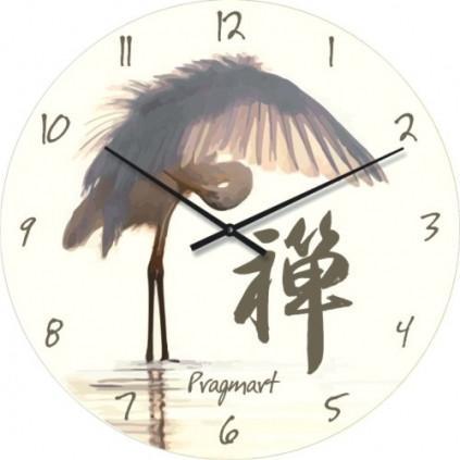 Часы настенные из стекла - Журавль(немецкий механизм)