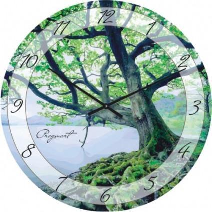Часы настенные из стекла - берег озера(немецкий механизм)