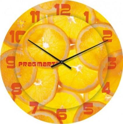 Часы настенные из стекла - апельсин (немецкий механизм)