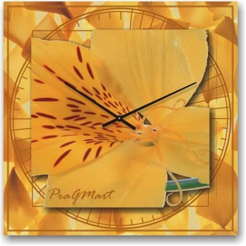 Часы настенные из стекла - Тигровая орхидея( немецкий механизм)