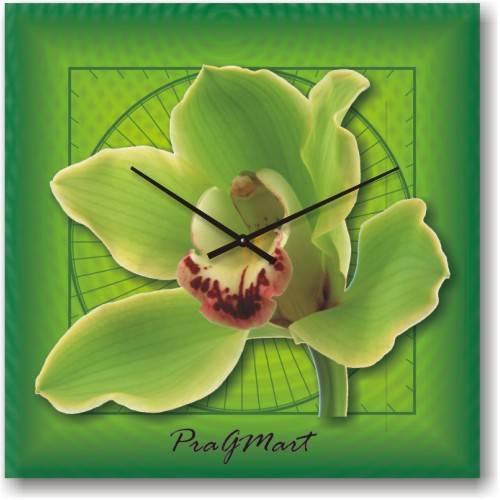 Часы настенные из стекла - Зеленая орхидея (немецкий механизм)