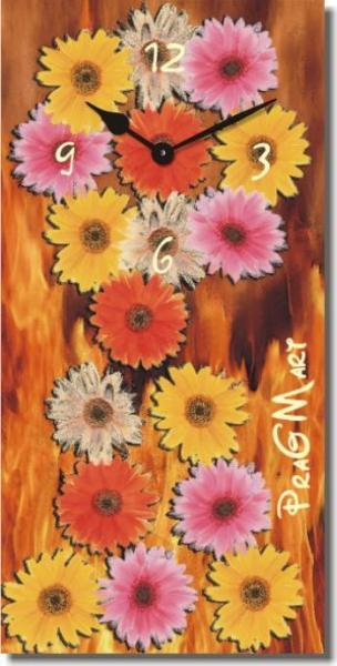 Часы настенные из стекла - цветы (немецкий механизм)