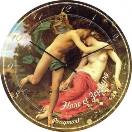 Часы настенные из стекла - Флора и Зефир Бугро (немецкий механизм)