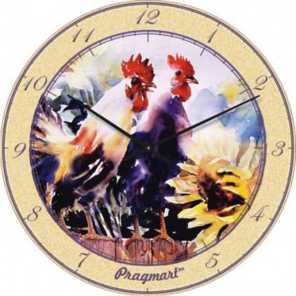 Часы настенные из стекла - сельский стиль (немецкий механизм)