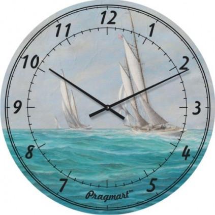 Часы настенные из стекла - регата (немецкий механизм)