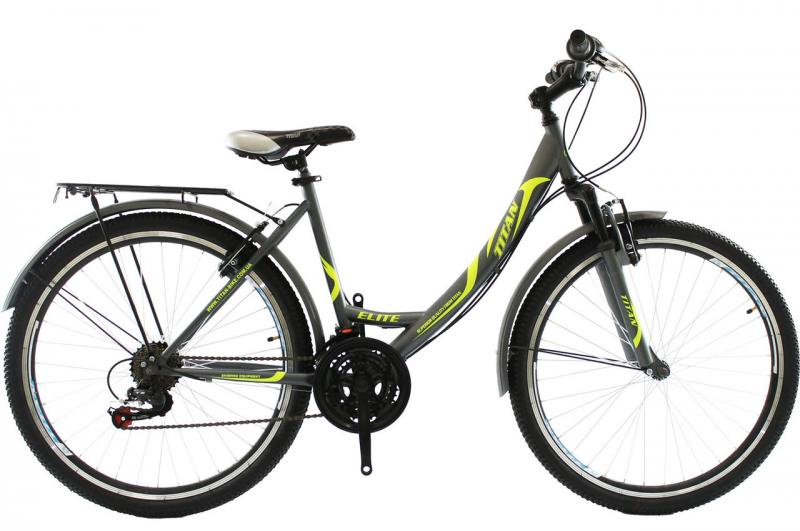 Городской велосипед Titan Elite 26 Gray-Green-White