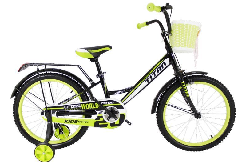"Детский велосипед Titan Jet 20"" Black-LightGreen"
