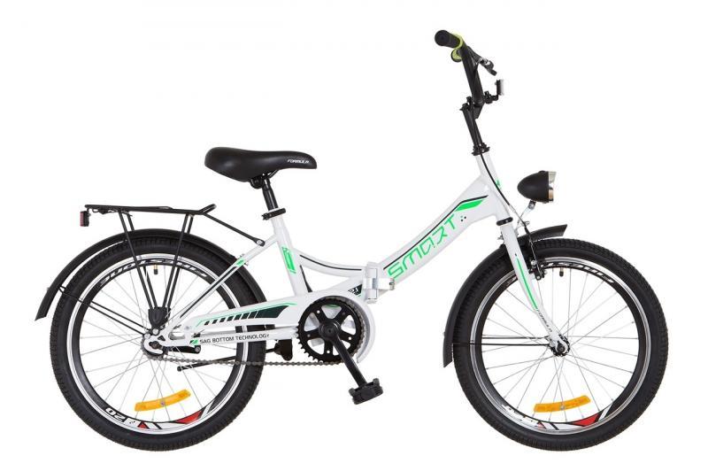 """Горный велосипед 20"""" Formula SMART с фонарём 2018 (бело-зелен.)"""