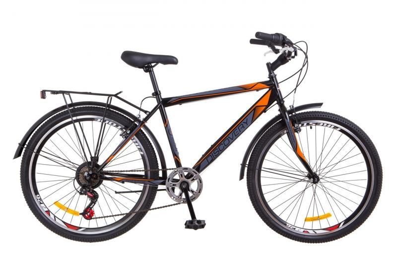 """Городской велосипед 26"""" Discovery PRESTIGE MAN 2018 (черно-оранжевый)"""