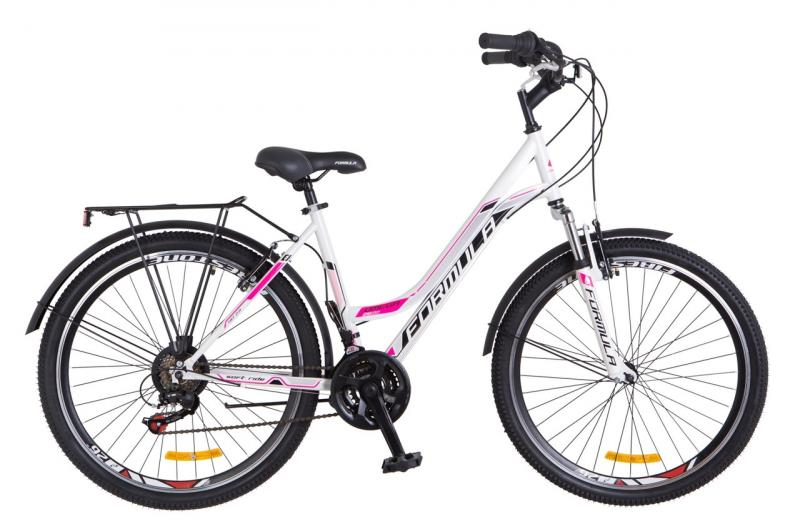 """Городской велосипед 26"""" Formula OMEGA 2018 (бело-розовый)"""