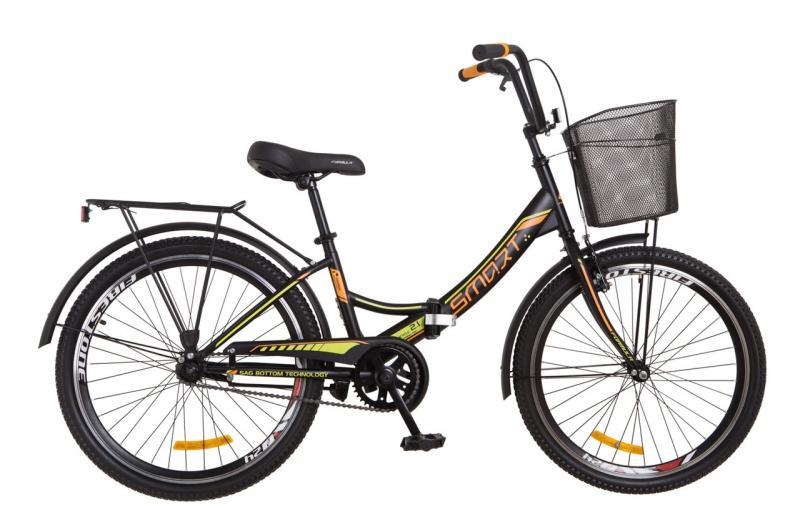 """Горный велосипед 24"""" Formula SMART с корзиной 2018 (черно-оранжевый (м))"""