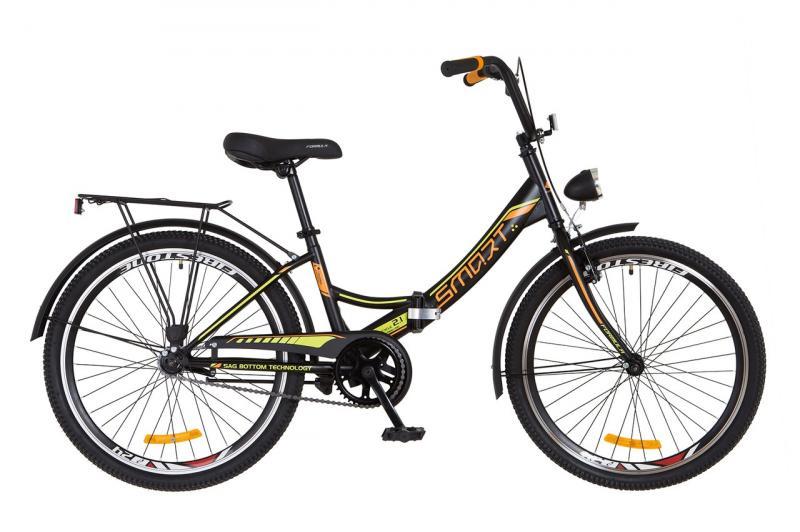 """Горный велосипед 24"""" Formula SMART с фонарём 2018 (черно-оранжевый (м))"""