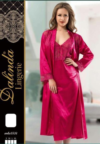 Женский комплект халат и сорочка шелк DALINDA