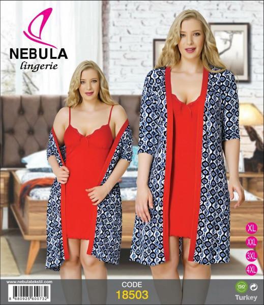 БАТАЛЬНЫЙ комплект ночная сорочка и халат NEBULA