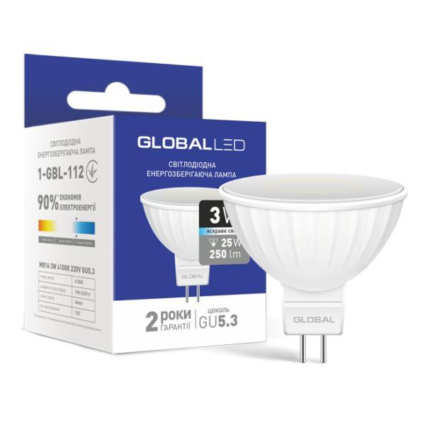 Лампа светодиодная LED MR16 3W 4100K 220V GU5.3 Global