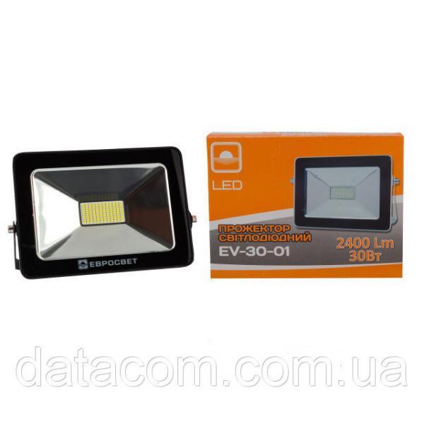 Прожектор светодиодный EVRO LIGHT 30Вт 6500k STAND 180-240В 2400Лм