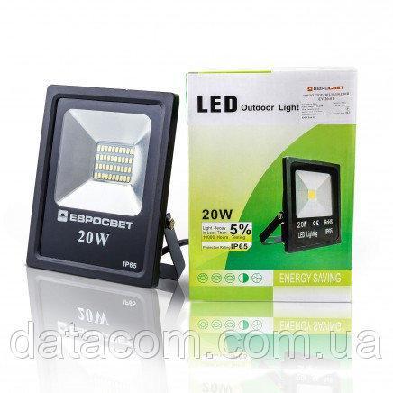 Прожектор светодиодный EVRO LIGHT EV-20-01 20W 95-265V 6400K 1400Lm SMD