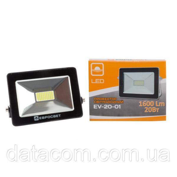 Прожектор светодиодный EVRO LIGHT 20Вт 6500k STAND 170-240В 1600Лм